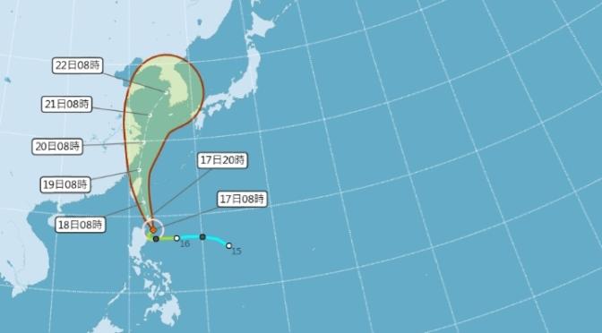 輕颱丹娜絲直撲台灣 全台各地影響範圍